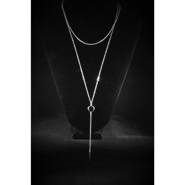 Black Silver Gemstone Lariat silver-gemstone-lariat Necklace