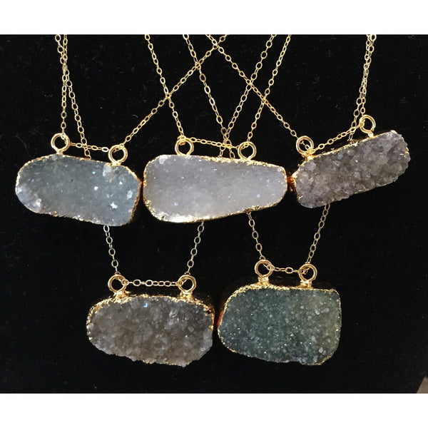 Dark Gray double-hang-druzy Necklace Double Hang Druzy