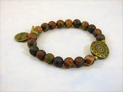 Matte Agate Red Brown Green Love Charm Wrap