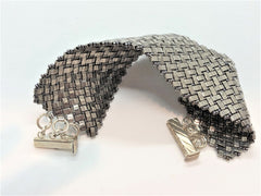 Herringbone Handsewn Bracelet Half Tila Gloss Silver Beads So flexible