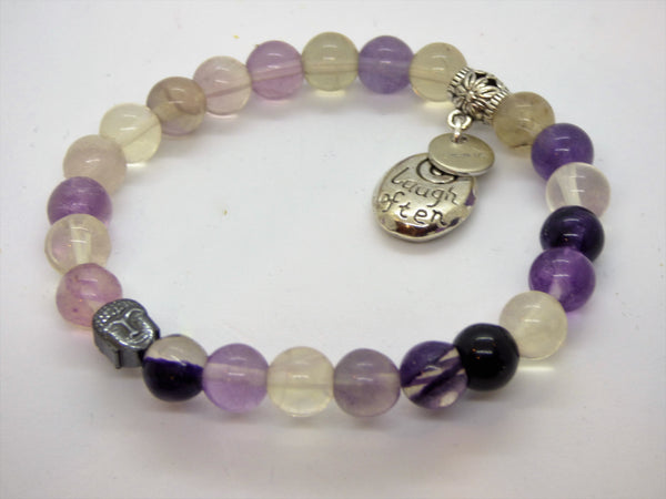 Light Gray fluorite-and-cloud-quartz-single-bracelet Bracelets Fluorite and Cloud Quartz Single Bracelet