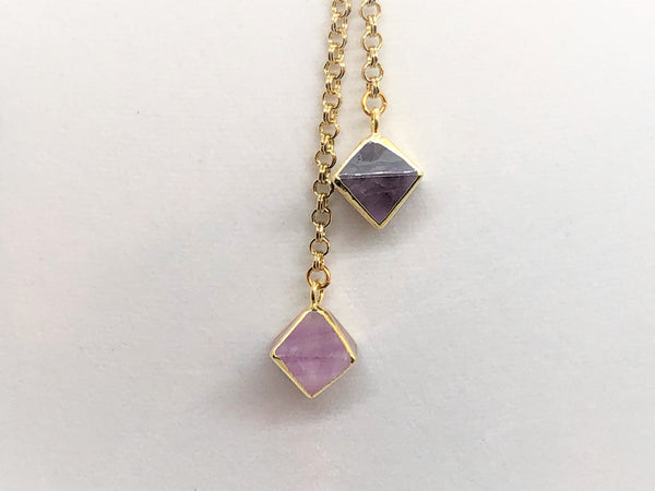 Rosy Brown Fluorite Prism Gold Lariat fluorite-prism-gold-lariat Necklace