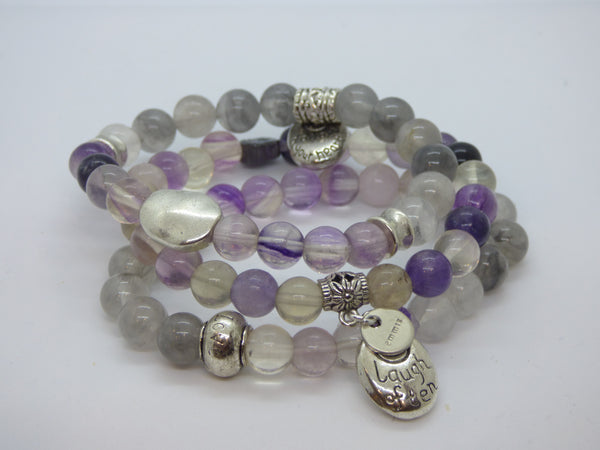 Slate Gray Fluorite and Cloud Quartz Single Bracelet fluorite-and-cloud-quartz-single-bracelet Bracelets
