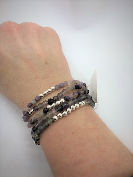 Sterling Silver and Gemstone Stack Bracelets