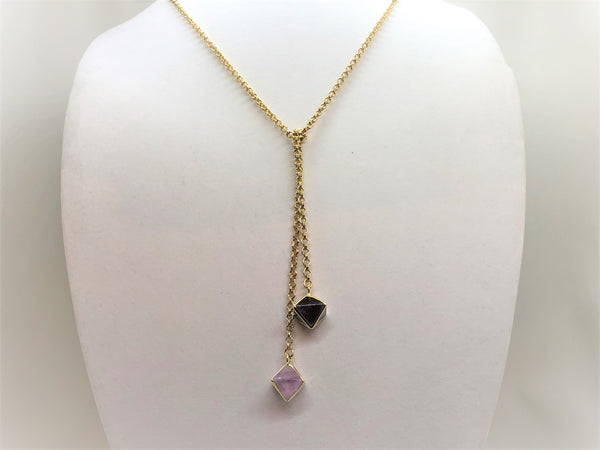 Light Gray fluorite-prism-gold-lariat Necklace Fluorite Prism Gold Lariat