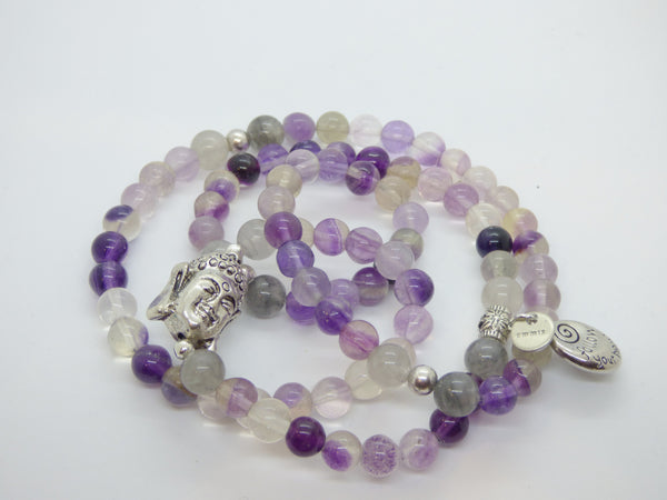 Slate Gray fluorite-and-cloud-quartz-wrap Necklace, Bracelet Fluorite and Cloud Quartz Wrap