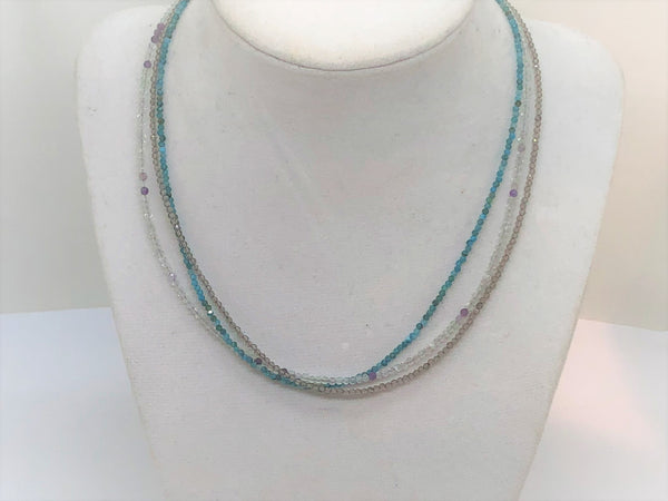 Triple Gemstone Short Necklace with Fluorite, Apatite and Chalcedony