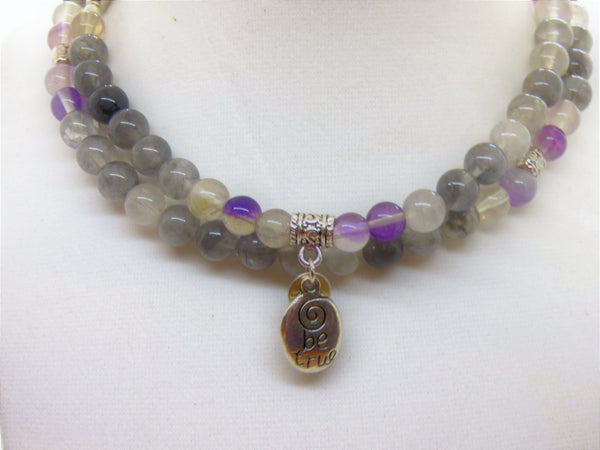 Dark Olive Green fluorite-and-cloud-quartz-wrap Necklace, Bracelet Fluorite and Cloud Quartz Wrap