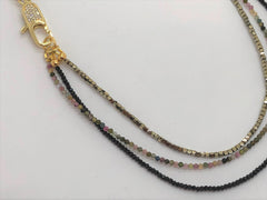 Light Gray triple-gemstone-short-necklace-with-tourmaline-and-gold-hematite Necklace Triple Gemstone Short Necklace with Tourmaline and Gold Hematite