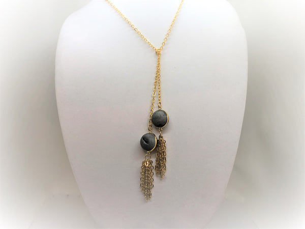 Gray gold-druzy-tassel-lariat Necklace Gold Druzy Tassel Lariat