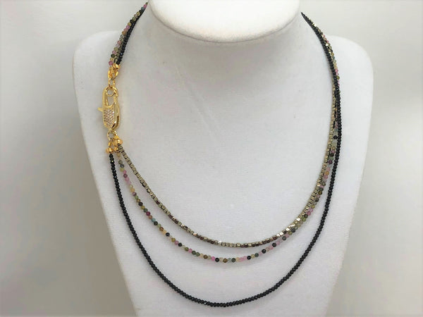 Gray triple-gemstone-short-necklace-with-tourmaline-and-gold-hematite Necklace Triple Gemstone Short Necklace with Tourmaline and Gold Hematite
