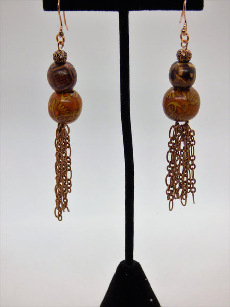 Saddle Brown Wood and Copper Earrings wood-and-copper-earrings Earrings