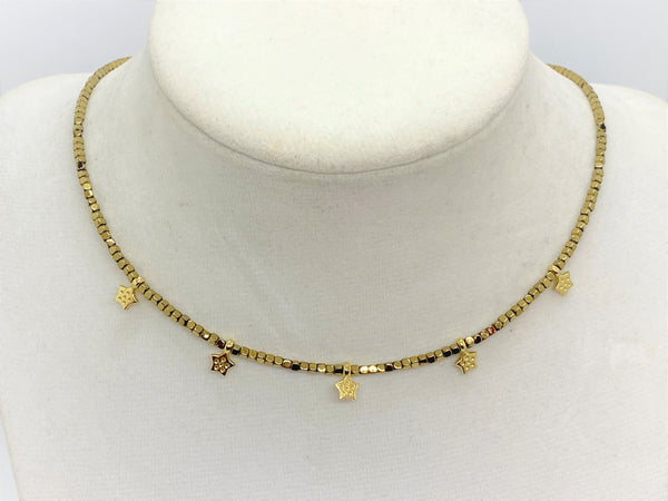 Hematite Gold Star Necklace - Emmis Jewelry,