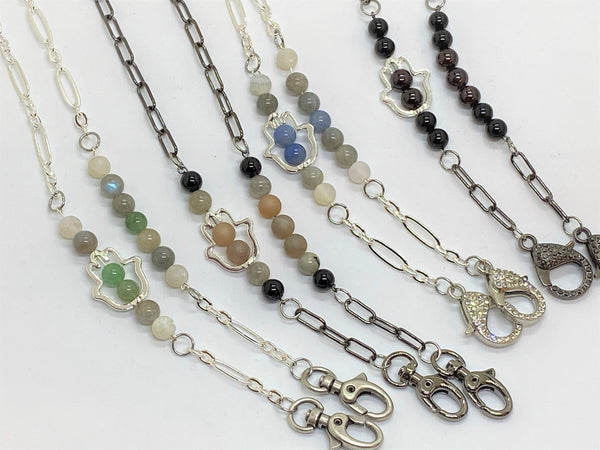 Gray Gemstone and Hamsa Mask Chains gemstone-and-hamsa-mask-chains Mask Chain