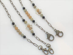 Rosy Brown Gemstone and Hamsa Mask Chains gemstone-and-hamsa-mask-chains Mask Chain