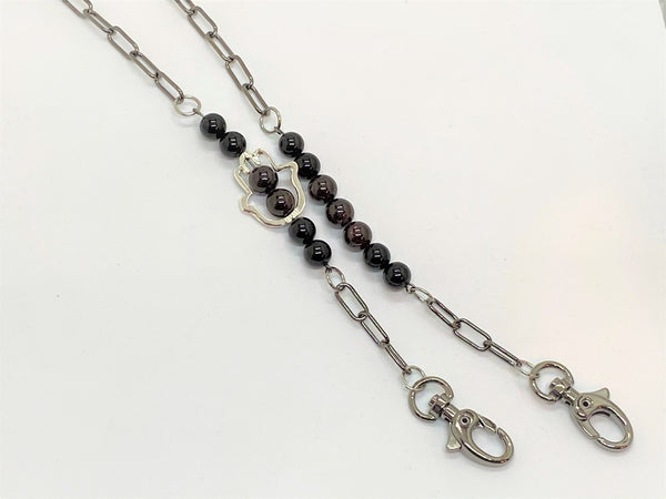 Dark Slate Gray Gemstone and Hamsa Mask Chains gemstone-and-hamsa-mask-chains Mask Chain