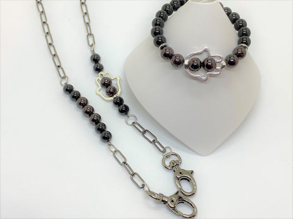 Gray Hamsa Gemstone Mask Chains with Matching Bracelets hamsa-gemstone-mask-chains-with-matching-bracelets Bracelet
