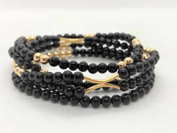 Black gold-fill-and-gemstone-stack-bracelets Bracelets Gold Fill and Gemstone Stack Bracelets
