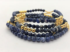 Dark Slate Gray gold-fill-and-gemstone-stack-bracelets Bracelets Gold Fill and Gemstone Stack Bracelets