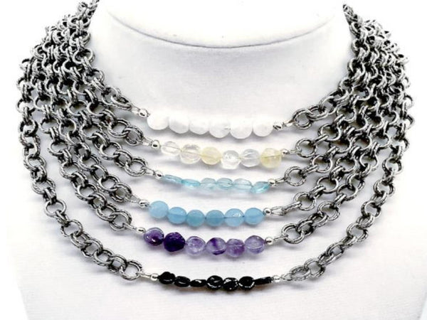 Flat Gemstone Double Chain Necklace - Emmis Jewelry, Necklace, [product_color]