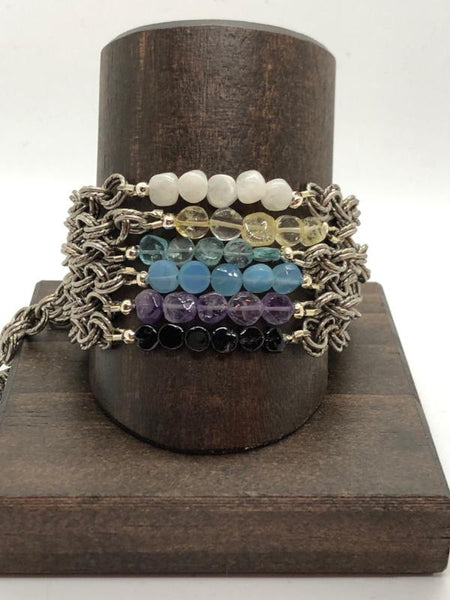 Dark Slate Gray flat-gemstone-double-chain-bracelet Bracelets Flat Gemstone Double Chain Bracelet