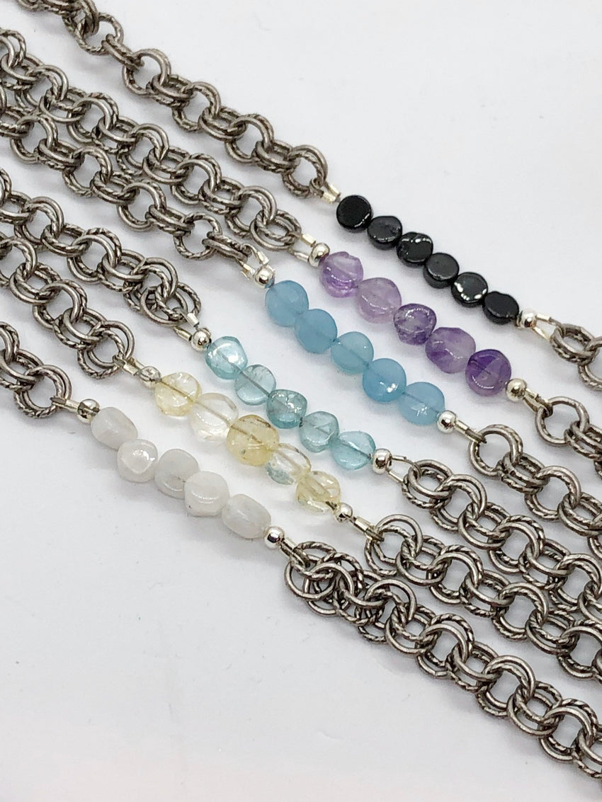 Light Slate Gray Flat Gemstone Double Chain Bracelet flat-gemstone-double-chain-bracelet Bracelets