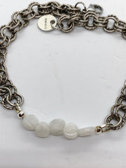 Light Gray Flat Gemstone Double Chain Bracelet flat-gemstone-double-chain-bracelet Bracelets