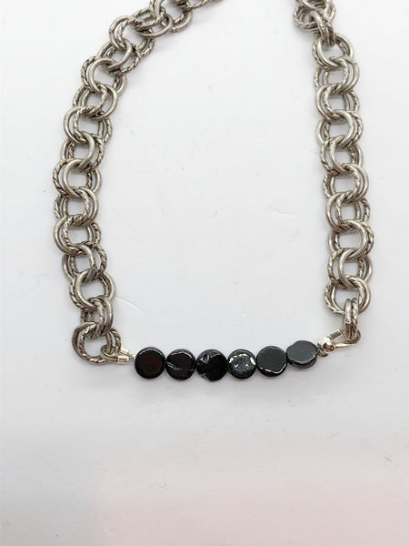 Flat Gemstone Double Chain Bracelet - Emmis Jewelry,