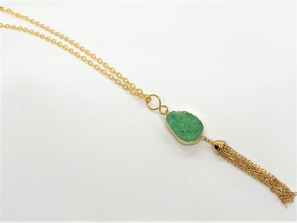 Sea Green Druzy Pendant Necklace druzy-pendant-necklace Necklace