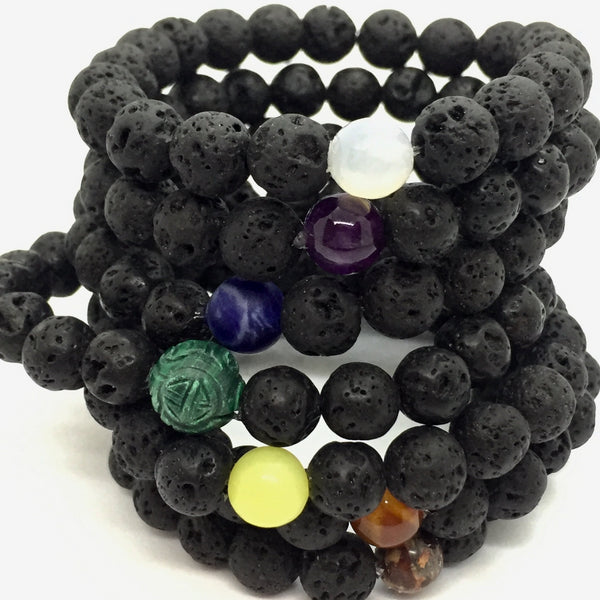 Chakra Single Lava Stone Bracelets - Emmis Jewelry,