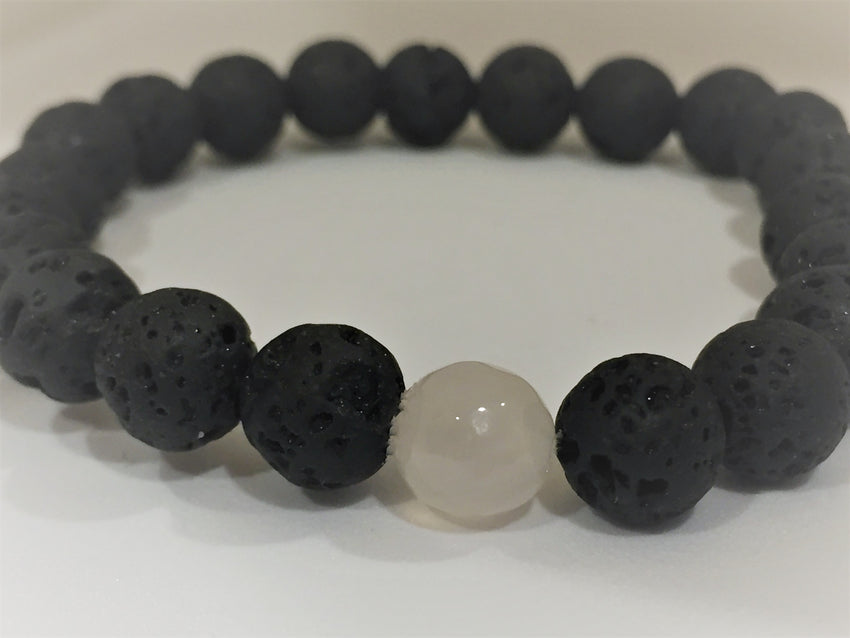 Dark Gray chakra-single-lava-stone-bracelets Bracelets Chakra Single Lava Stone Bracelets