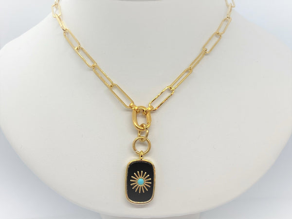 Gold Plated Paperclip Necklace with a Gemstone Pendant - Emmis Jewelry, Necklace, [product_color]
