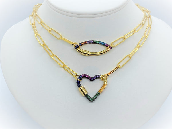 Gold Paperclip necklace with a Multicolor clasp - Emmis Jewelry, Necklace, [product_color]