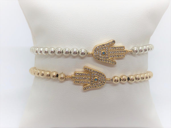 Stretch Hamsa Bracelet on Sterling Silver or Gold Fill Beads - Emmis Jewelry,