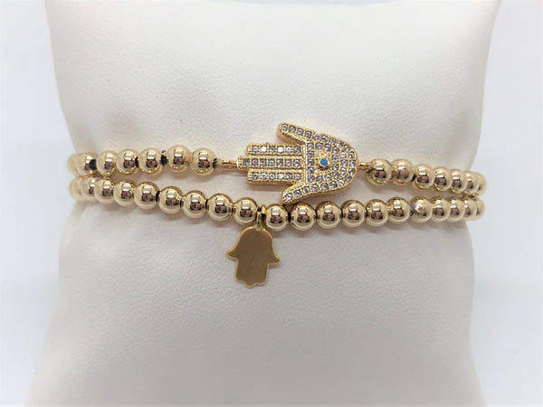 Stretch Hamsa Bracelet on Sterling Silver or Gold Fill Beads - Emmis Jewelry, Bracelet, [product_color]
