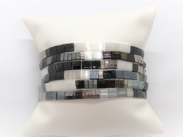 Tila stretch Bracelets Set of 6 black grey silver white