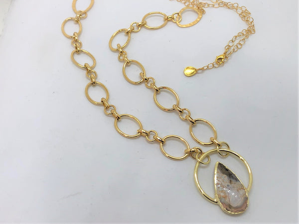 Gold Circle Agate Stone Necklace