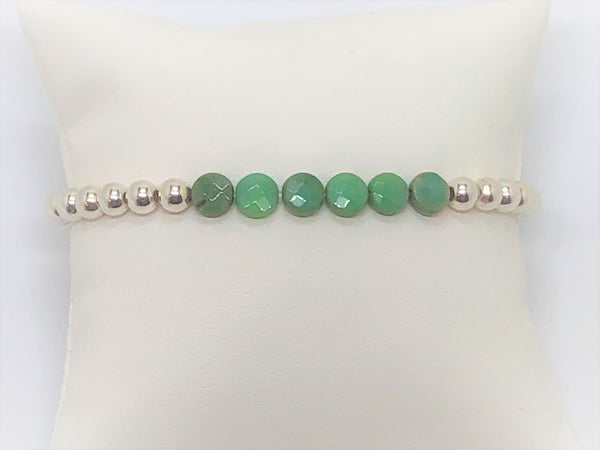 Silver Stretch with African Jade Flat Coin Bracelet Stacking or Solo