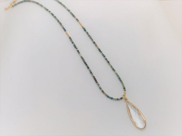 Gray African Turquoise and Gold Necklace with a Faceted Crystal Quartz Teardrop african-turquoise-and-gold-necklace-with-a-faceted-crystal-quartz-teardrop Necklace