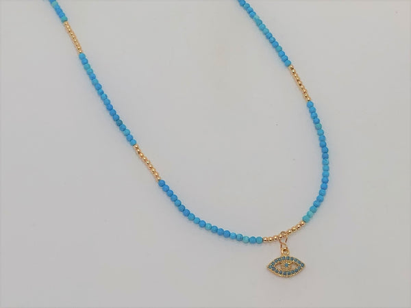Steel Blue Turquoise and Gold Evil Eye Necklace turquoise-and-gold-evil-eye-necklace Necklace
