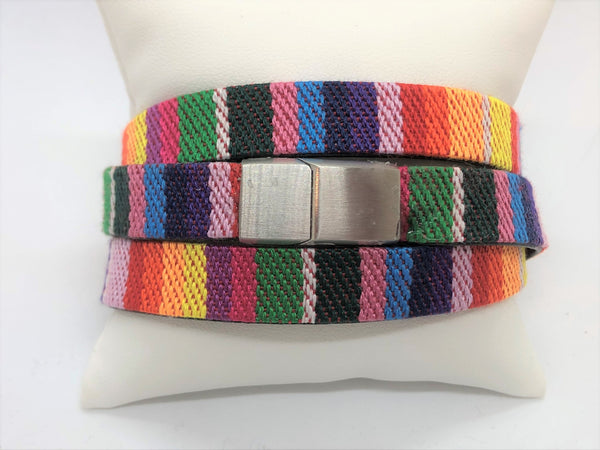 Boho Rainbow stripe cloth and leather backed wrap with interlocking stainless steel magnetic clasp