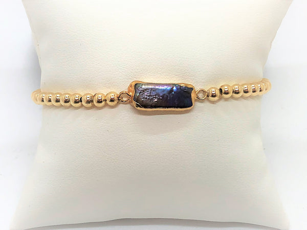Gold and Pearl Stretch Bracelet