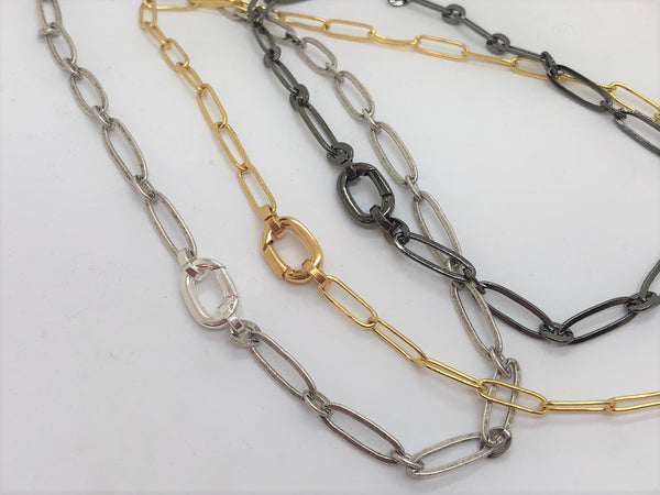 Rosy Brown Locking Paper Clip Link Necklace locking-paper-clip-link-necklace Necklace, Bracelet