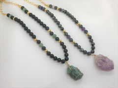 Dark Slate Gray Chunky Funky Fluorite Necklace chunky-funky-fluorite-necklace Necklace