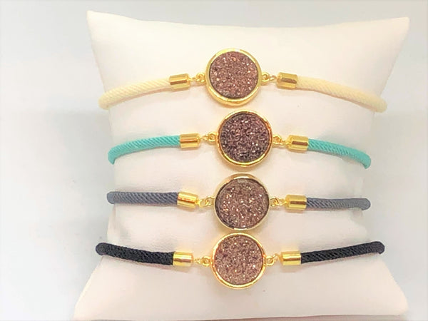 Toggle Gold Druzy Bracelet - Emmis Jewelry,