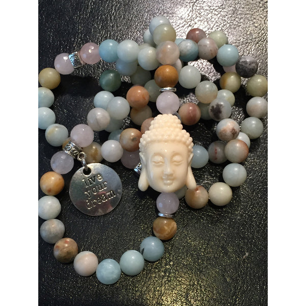 Amazonite and Rose Quartz Buddha Wrap - Emmis Jewelry - 1