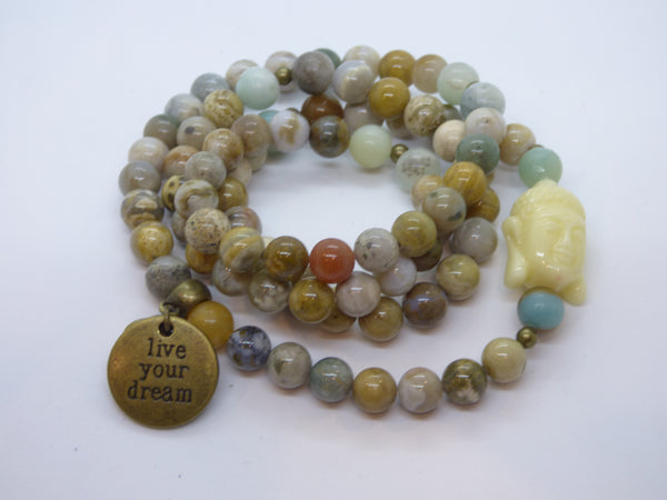 Dark Olive Green amazonite-and-ocean-jasper-wrap Necklace, Bracelet Amazonite and Ocean Jasper Wrap