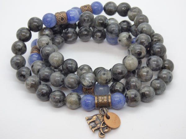 Dim Gray labradorite-and-blue-quartz-wrap Necklace, Bracelet Labradorite and Blue Quartz Wrap