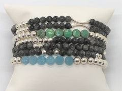 Silver Stretch with Chalcedony or African Turquoise Flat Coin Bracelet Stacking with Labradorite Gemstone Stack