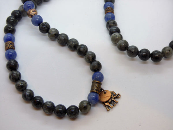 Dark Khaki labradorite-and-blue-quartz-wrap Necklace, Bracelet Labradorite and Blue Quartz Wrap
